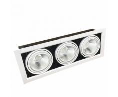 Portafaretto AR111 Orientabile 3x20w Completa di 3 Faretti LED Ghiera Silamp