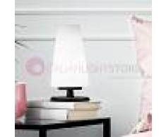 Fabas Luce Milady Lampada Da Comodino Moderna H. 19 In Vetro Soffiato Bianco