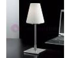 Fabas Luce Lucy Big Lampada Da Comodino Moderna H. 36 In Vetro Soffiato Bianco