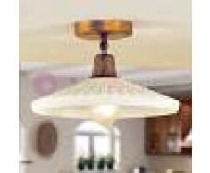 Febo Light Tosca Plafoniera Lampada Soffitto D. 30 Ottone Anticato E Vetro Scavo Rustica Country