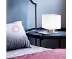 Fabas Luce Zara Lampada Da Comodino Cubetto Moderno In Vetro Soffiato Bianco