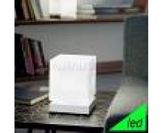 Fabas Luce Brenta Lampada Da Comodino A Led Cubetto Moderno In Vetro Soffiato Bianco
