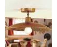 Febo Light Teo Plafoniera A Soffitto Rustica In Ottone Anticato Piatto D.43 Vintage Country