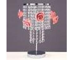 Padana Lampadari Priscilla Lampada Da Tavolo Cromata Con Cristalli A Cascata E Roselline In Porcellana