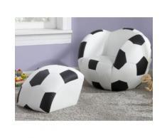 Poltrona e pouf per bambini in similpelle FOOTY - Nero e bianco