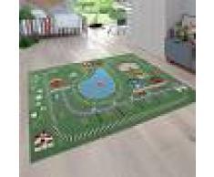 Paco Home Tappeto da gioco per bambini con paesaggi e ferrovia, colorato