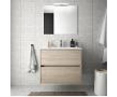 Bagno Mobile sospeso 70 cm in legno marrone Caledonia con lavabo in porcellana Con colonna, specchio e lampada LED