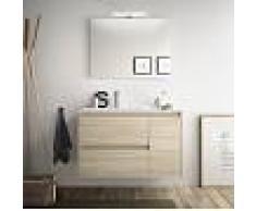 Bagno Mobile sospeso 85 cm in legno marrone Caledonia con lavabo in porcellana Con specchio e lampada LED