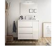 Bagno Mobile a terra 85 cm in legno laccato Bianco lucido con lavabo in porcellana Con specchio e lampada LED