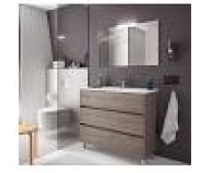 Bagno Mobile a terra 100 cm in legno Rovere con lavabo in porcellana 100 cm - Con specchio e lampada LED