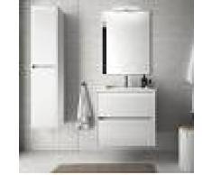 Bagno Mobile sospeso 60 cm in legno laccato Bianco lucido con lavabo in porcellana Con Doppia colonna, Specchio e Lampada Led