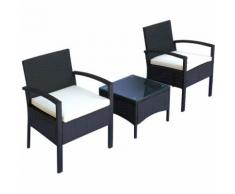 Outsunny Set Mobili da Giardino 3pz Set 2 Sedie e Tavolino con Cuscini Poly Rattan Nero