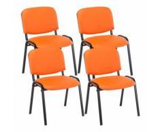 Set 4 Sedie Ufficio Visitatore Ken Imbottite In Similpelle Arancione