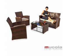 4 Pezzi In Rattan Set Di Sedute Set Di Mobili Da Giardino Polyrattan Divano Mobili Da Salotto M01