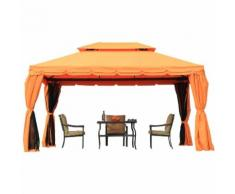 Outsunny Gazebo Padiglione da giardino in Metallo, arancione, 3x4m