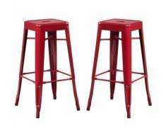 SKLUM Pack 2 Sgabelli Alti LIX Rosso Bordeaux Sala da Pranzo Cucina Bar Stile Industrial