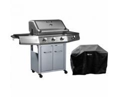 Barbecue a gas con LED Bingo 4 - 4 fuochi di cui 1 laterale - 14kW + Fodera di protezione - Argento