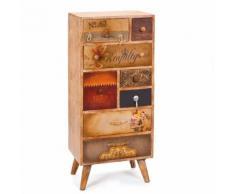 Cassettiera navan dim, 45x35x102h - legno massello marrone + pelle - Inter Link