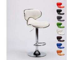 Sgabello per cucina e bar AMARILLO Design Moderno girevole cromato | Bianco