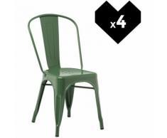 SKLUM Pack 4 Sedie LIX Verde Felce Sala da Pranzo Cucina Bar Stile Industrial