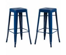 SKLUM Pack 2 Sgabelli Alti LIX Blu Oltremare Sala da Pranzo Cucina Bar Stile Industrial