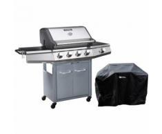 Barbecue a gas Bingo 5 - 5 piastre di cui 1 laterale - 15.2kW + Fodera di protezione - Argentato