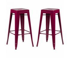 SKLUM Pack 2 Sgabelli Alti LIX Rosso Sangria Sala da Pranzo Cucina Bar Stile Industrial
