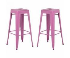 SKLUM Pack 2 Sgabelli Alti LIX Violetta Sala da Pranzo Cucina Bar Stile Industrial