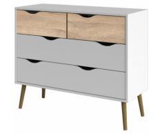 Dmora Cassettiera a quattro cassetti, colore bianco e rovere, cm 97 x 81 x 49.