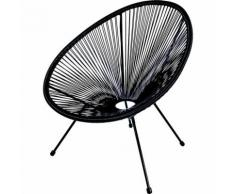 Sedia esterno giardino poltrona honduras in acciaio e corda enrico coveri colore sedia: nera