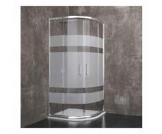 Davos - Box Doccia Semicircolare, Cristallo Temperato Serigrafato, Alluminio Anodizzato, Maniglie