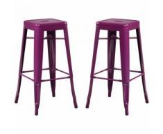 SKLUM Pack 2 Sgabelli Alti LIX Violetta Porpora Sala da Pranzo Cucina Bar Stile Industrial