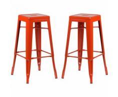 SKLUM Pack 2 Sgabelli Alti LIX Arancione Sala da Pranzo Cucina Bar Stile Industrial