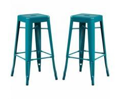 SKLUM Pack 2 Sgabelli Alti LIX Blu Turchese Sala da Pranzo Cucina Bar Stile Industrial