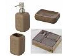 Feridras Set accessorio bagno completo Bingo 3 Pz Tortora In Scatola porta spazzolino sapone