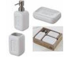Feridras Set accessorio bagno completo Bingo 3 Pz Bianco In Scatola porta spazzolino sapone