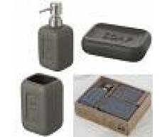 Feridras Set accessorio bagno completo Bingo 3 Pz Grigio In Scatola porta spazzolino sapone