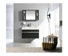 Mobile Bagno Sospeso 90 Cm In Mdf Con Specchiera Vorich Idea Nero