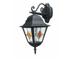 Lanterna Verso Basso Diffusore Vetro Decorato Alluminio Nero Oro Impermeabile E27 Intec Lant-pisa/ap1b