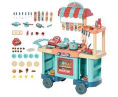 Cucina Giocattolo Per Bambini 79,5x33x90,5 Cm Con 50 Accessori Blu