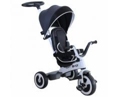 Passeggino Triciclo Per Bambini Con Maniglione Tettuccio E Cestino Grigio Scuro Benzoni