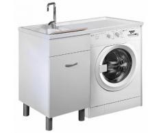 Lavatoio E Coprilavatrice 106x60x90 Cm Ambrosini Doris Bianco Opaco Lato Sinistro