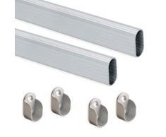 Set 2 Bastoni Appendiabiti Per Armadi Ovali 95 Cm In Alluminio Emuca Anodizzato Opaco