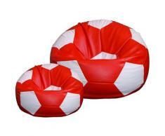 Poltrona A Sacco Pouf Ø100 Cm In Ecopelle Con Poggiapiedi Baselli Pallone Da Calcio Rosso E Bianco