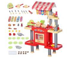 Cucina Giocattolo Per Bambini 69x33x88 Cm Con 50 Accessori Rossa