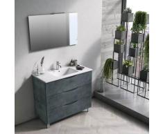 Mobile Bagno Sospeso 100 Cm Lavabo Specchio E Lampada A Led Tft Marte Pietra Blu