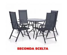 Set Tavolo E 4 Sedie Pieghevoli Da Giardino In Metallo E Textilene Manieri Nero Seconda Scelta