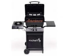 Barbecue A Gas Gpl Pietra Lavica 2 Fuochi 7,6kw Con Fornello Laterale Sochef Piùpepito