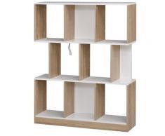 Libreria 8 Ripiani 100x30x124 Cm In Mdf Hmc Rovere E Bianco