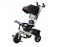 Passeggino Triciclo Per Bambini Con Maniglione E Tettuccio Parasole Deluxe Bianco E Viola Benzoni